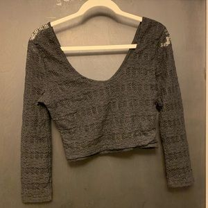 Pins and Needles Faux Lace Crop Top L